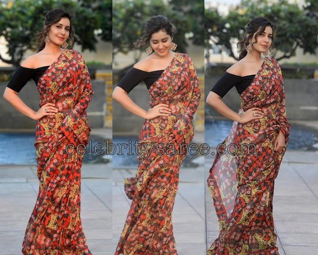 Raashi Khanna Floral Georgette Saree