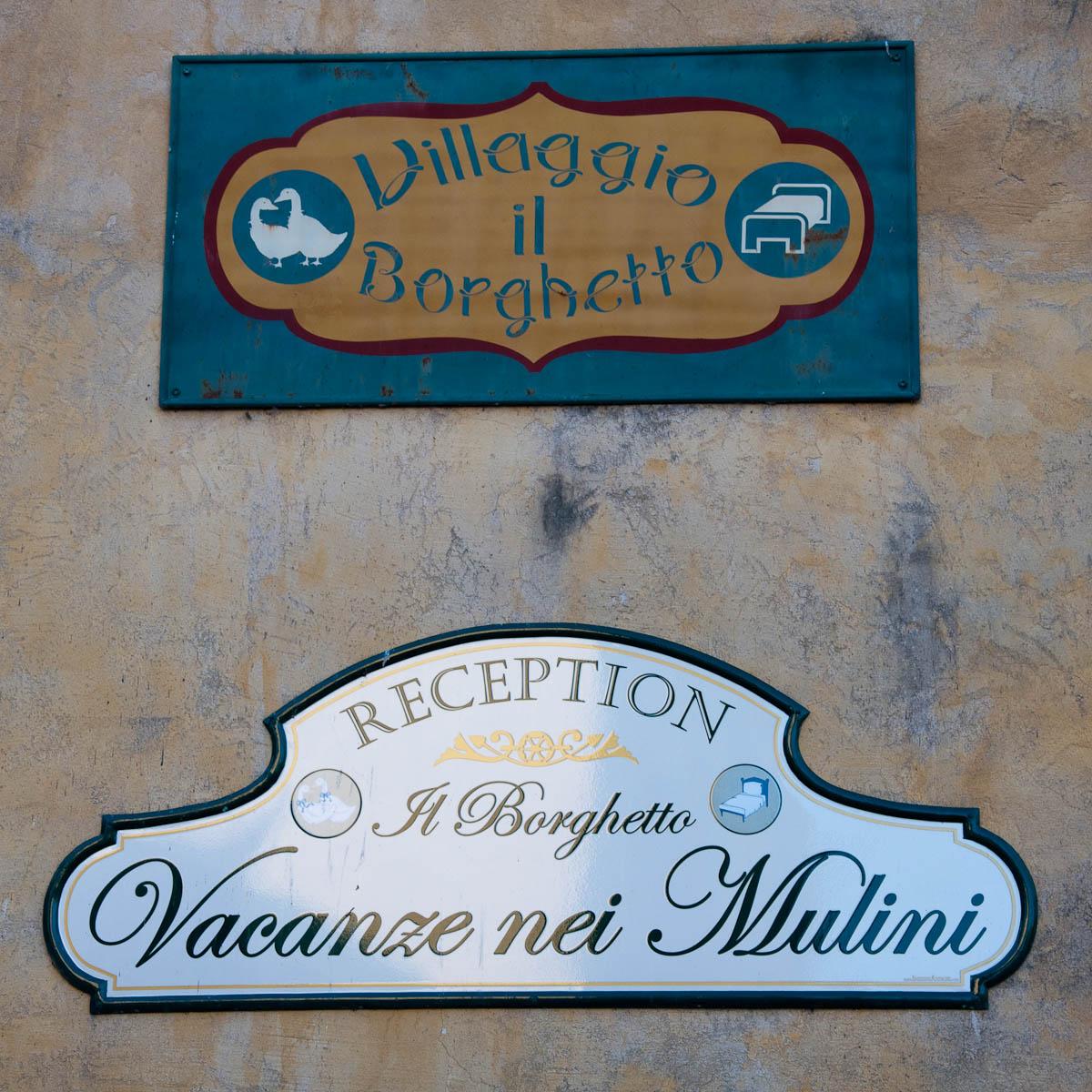 Hotel sign, Borghetto, Veneto, Italy