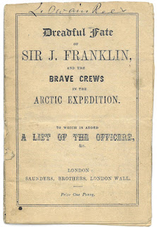 typorgraphical cover of The Dreadful Fate of Sir J. Franklin. It is a simple pamphlet on yellowing paper.