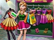 Go shopping with Anna for new clothes and accessories! The princess is so bored with her old clothes, but how is she going to shop without money? Help her work and start collecting as many bills as you can. Once she has enough, hop in the cab and go to the mall. Try on different dresses and accessories, pick your favorite and if you don't have enough cash, go home to work some more. Shopping can be super fun so try to buy everything from the store to make Anna really happy!