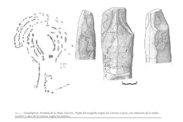 Planta del dolmen de Guadalperal según Obermaier, grabados según Bueno y Balbín. Foto: Bueno y Balbín.