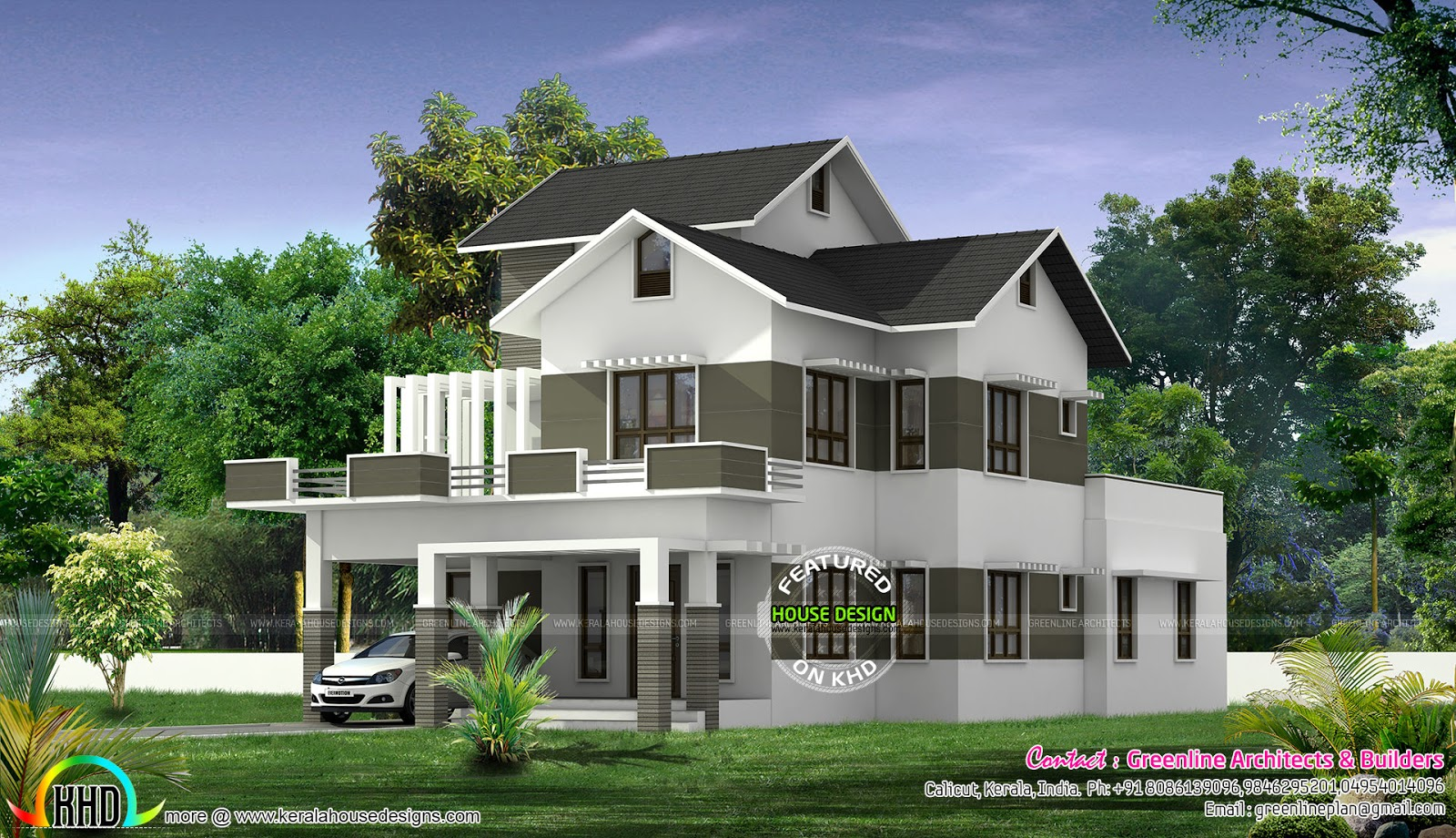 Modern Mix Roof Home Design In 2776 Sq Ft Kerala Home