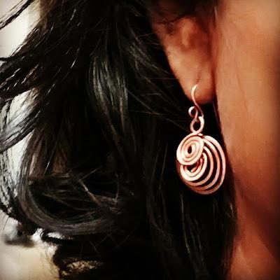 Copper Wire Ear Rings, Copper Jewelry