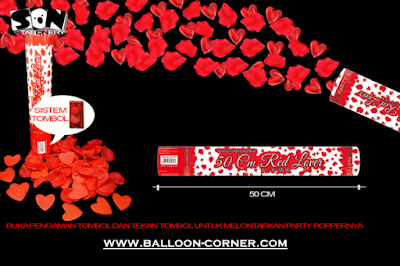 Party Popper Red Lover / Confetti Red Lover Ukuran 50 Cm (TOMBOL / PENCET)
