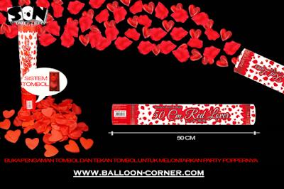 Party Popper Red Lover / Confetti Red Lover Ukuran 50 Cm (TOMBOL / PENCET)