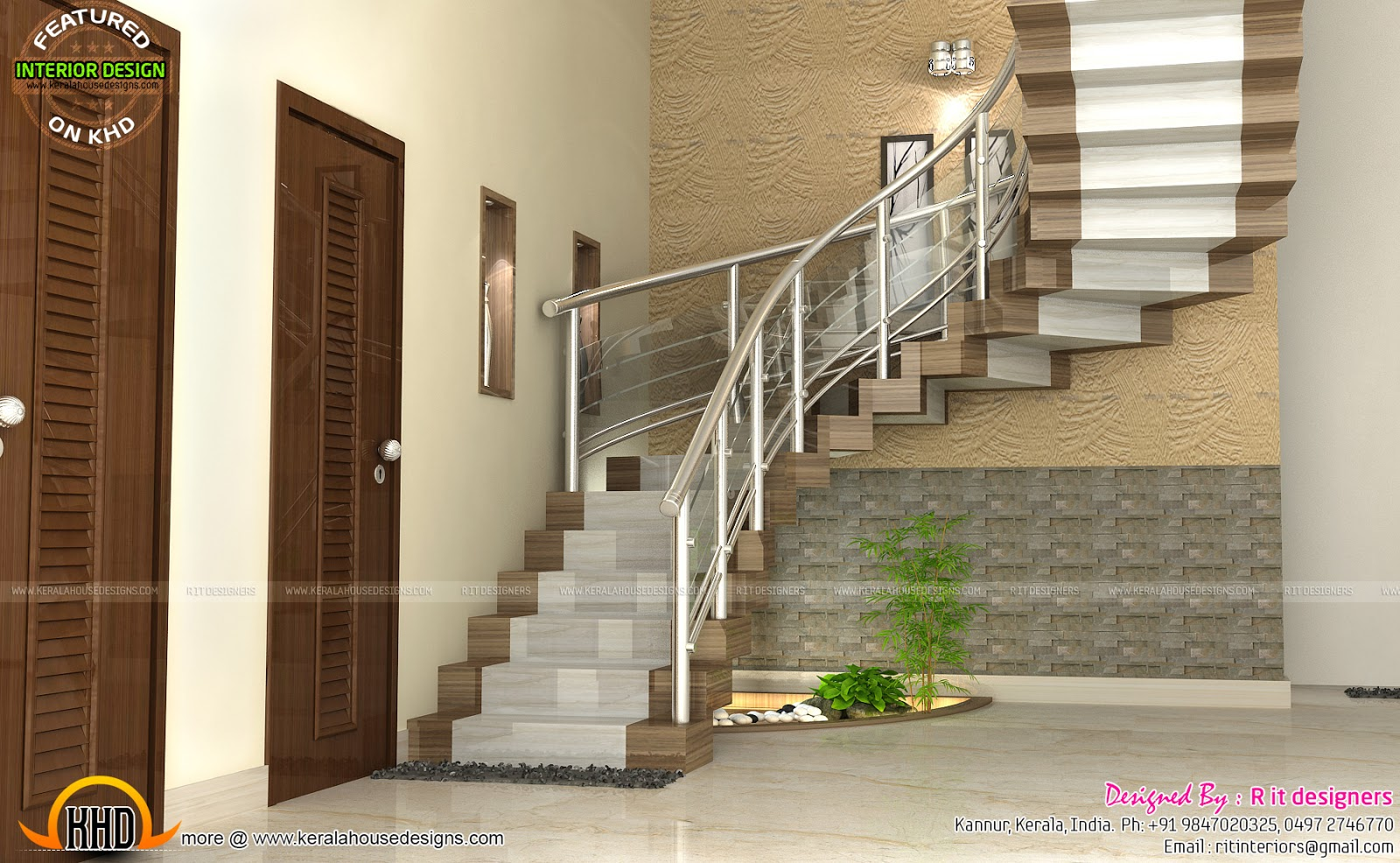 Modular kitchen bedroom and staircase interior kerala for New model house interior design