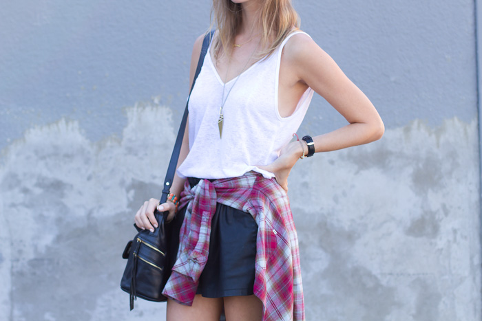 Vancouver Fashion Blogger, Alison Hutchinson, is wearing an Urban Outfitters white tank, Zara leather shorts, Aritzia Plaid Top, Sam Edelman Boots and RayBan Aviators