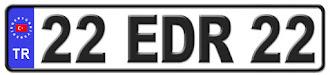Edirne il isminin kısaltma harflerinden oluşan 22 EDR 22 kodlu Edirne plaka örneği