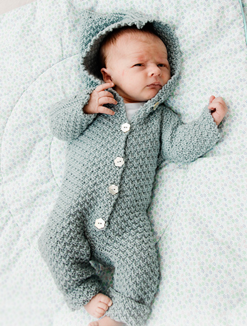 Babysuit Truly Wooly with Hood - Free Pattern