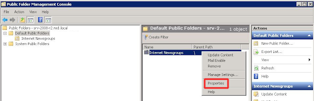 Abriremos la Public Folder Management Console.