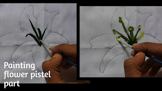 Flower pistel part painting, how to paint pistel part, fabric painting on clothes, flower painting