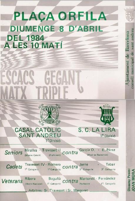 Cartel del encuentro de ajedrez C.C Sant Andreu - S.C. Lira, 1984