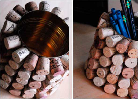 reciclar, portalápices, corchos, latas, manualidades, diys, organizador
