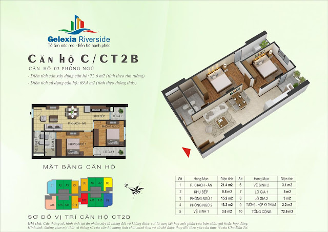 Căn hộ C, 69m2, 2 phòng ngủ - Gelexia Riverside