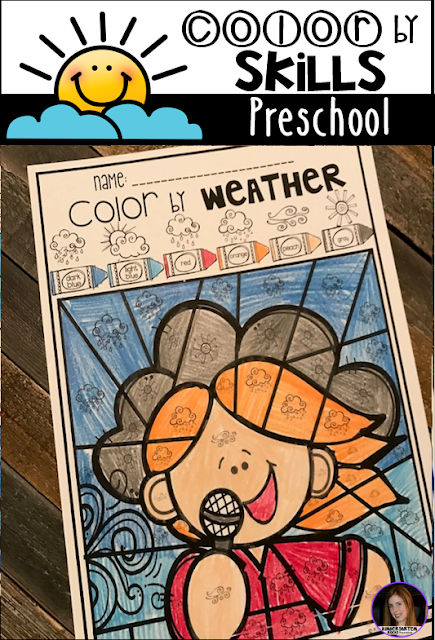 The boys and girls will work on weather vocabulary with this cute Color by Weather printable.