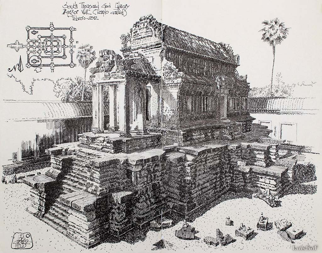 07-South-Thousand-God-Library-Angkor-Wat-Cambodia-Luis-Gómez-Feliu-Elucubros-Urban-Sketches-and-Interior-Architectural-Drawings-www-designstack-co