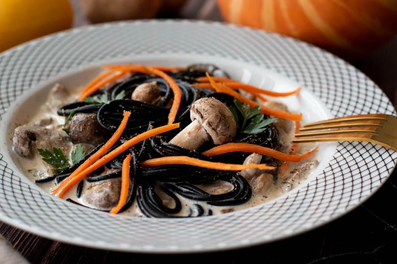 recette Pâtes aux champignons halloween