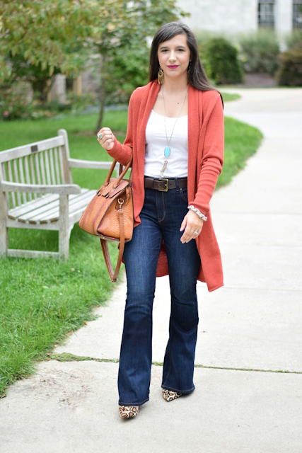 Affordable flare jeans for fall with soft cardigan