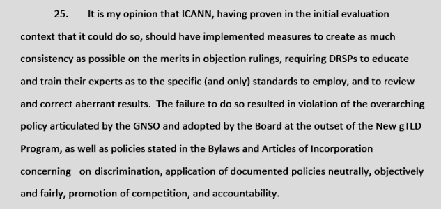 Kurt Pritz expert opinion in Donuts vs ICANN