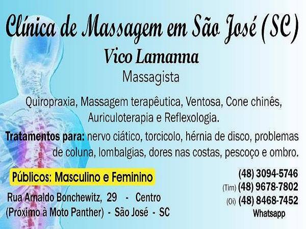 Massagista Massagem Terapeutica Massoterapia para dores nas costas, coluna, ciático, lombares, torcicolo, hérnia, ombro e pescoço - Clínica de Massagem Terapêutica em São José SC - Grande Florianópolis