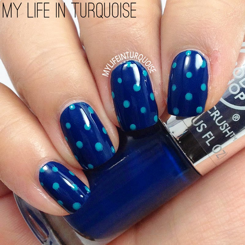 Navy and Turquoise Polka Dots