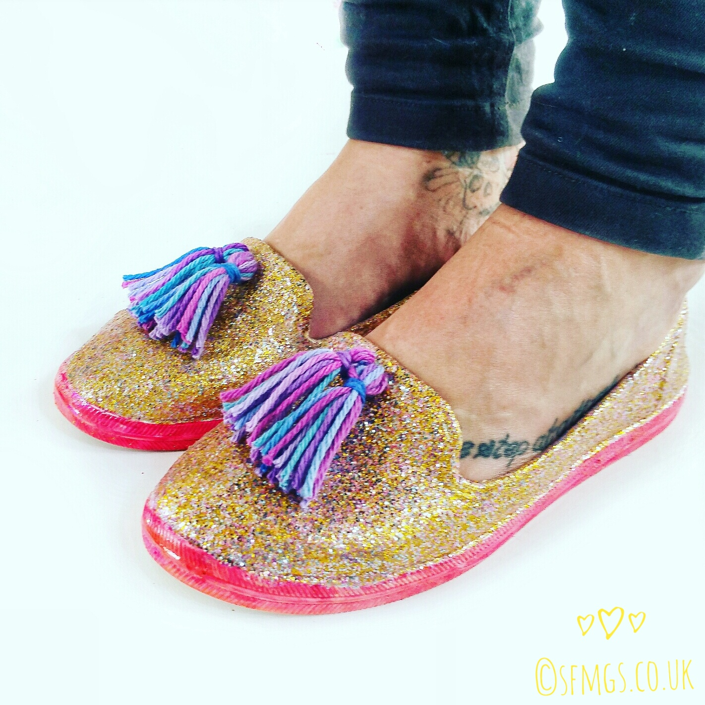 glitter shoes trainers diy refashion sugar n cream yarn