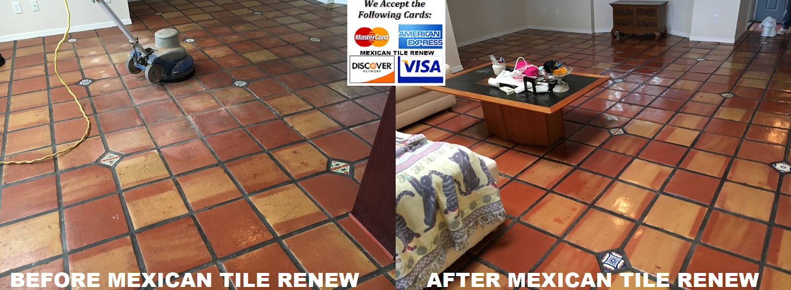 Mexican Tile Renew Project In St Pete Fl Where Rubber Pad Under Area Rug Had Stuck To The