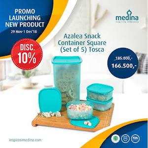 Azalea Snack Container Square (Set of 5) Tosca