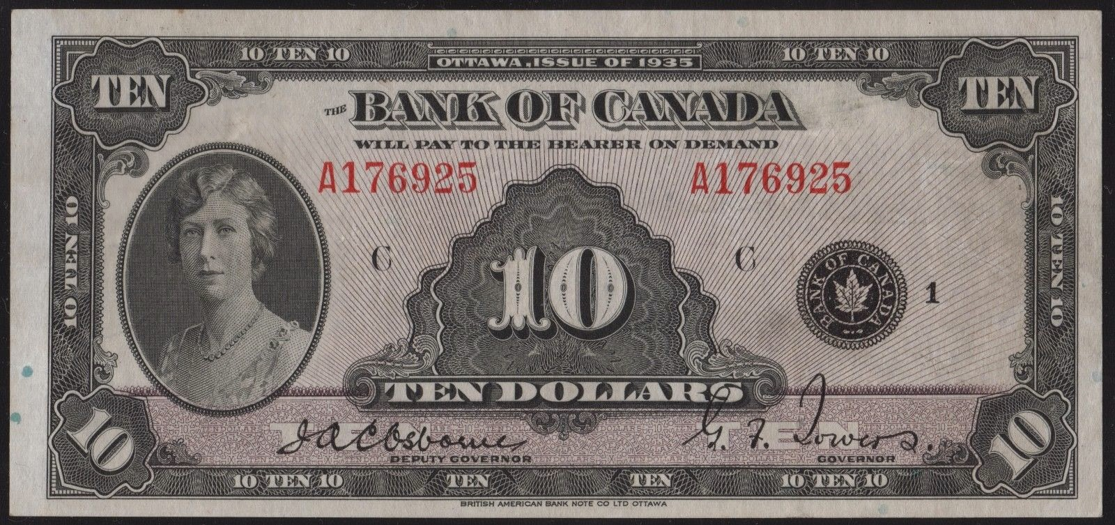 Canada banknotes 10 Dollar Note 1935 Princess Mary
