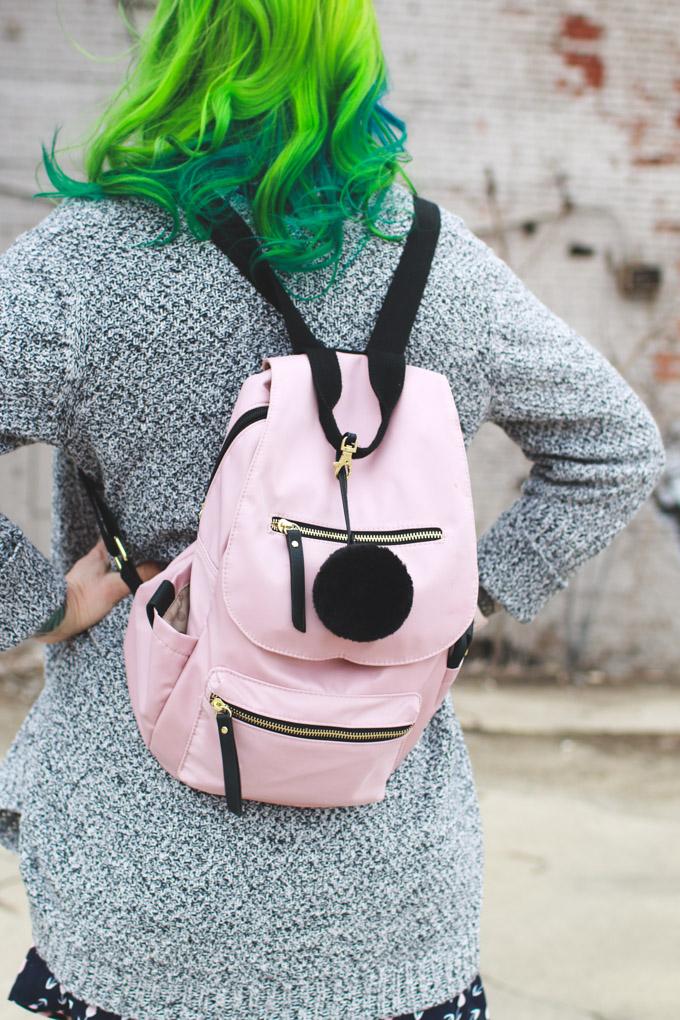 madden girl, backpack, pom pom