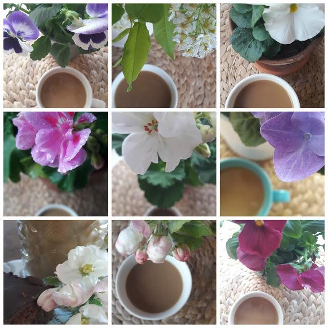 kuvakollaasi kukat ja kahvi