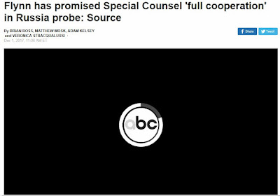 Screen Capture of ABC News Report - Flynn has promised Special Counsel 'full cooperation' in Russia probe: Source - 2017-12-01 11:06 AM ET