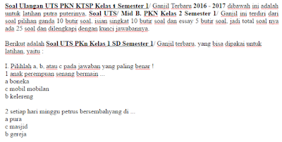 Soal Ulangan UTS PKN KTSP Kelas 1 Semester 1/ Ganjil Terbaru 2016