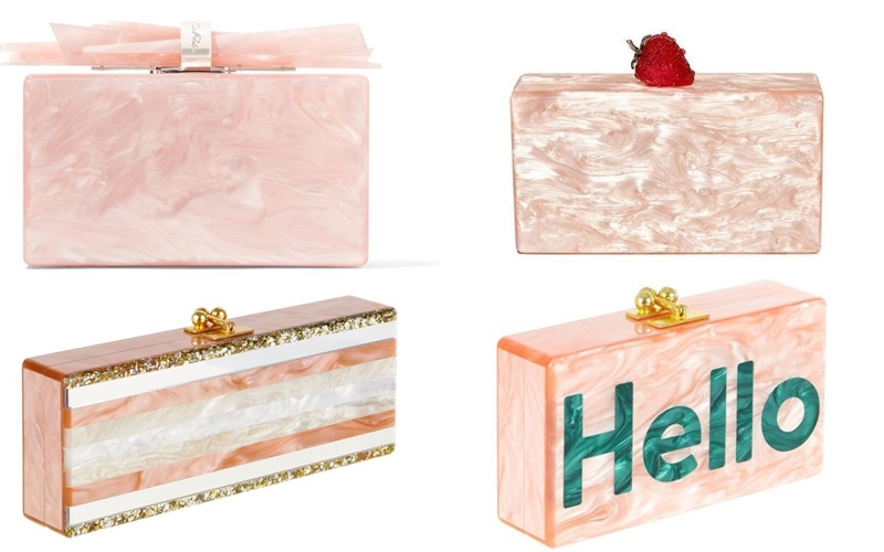 Edie Parker pink and blush color acrylic clutches