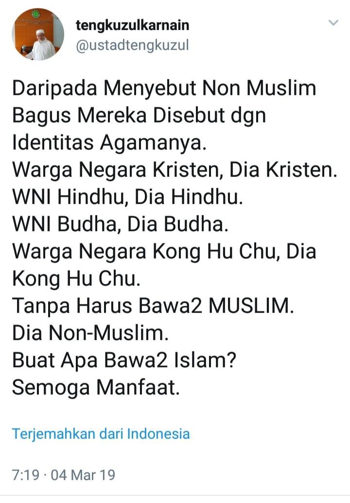 Polemik Ganti Kafir dengan Non Muslim, Ini Dua Argumen Telak KH Tengku Zulkarnain