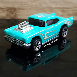 HOT WHEELS '57 CHEVY CYAN HW 5DOT COLLECTOR NO 105