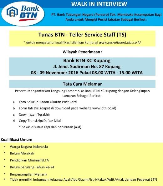 Lowongan Kerja Bank BTN (Persero) Tingkat SMA