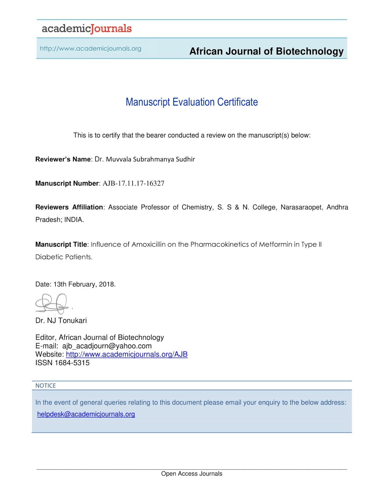 My Achievements 156 Manuscript Evaluation Certificate African