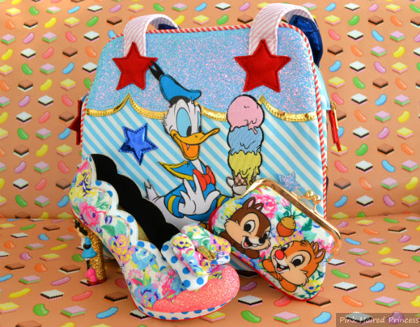 irregular choice disney whoa donald duck bag with chip n dale purse and sherbet ice cream minnie mouse heels