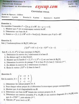 Contrôle final d'Algèbre 2 SMPC S2-FSR-2014-2015