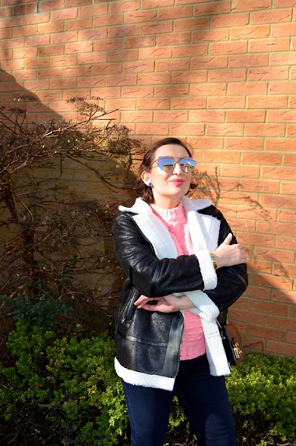 Adriana Style Blog, Blogerka modowa Puławy, Zaful Aviator Jacket, Zaful Pink Sweater, Topshop heels, Heidi Klum Jeans, Fashion blogger, Spring Look