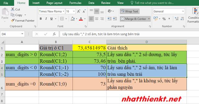 Excel 2016 - Hàm làm tròn (round) bài tập đơn giản