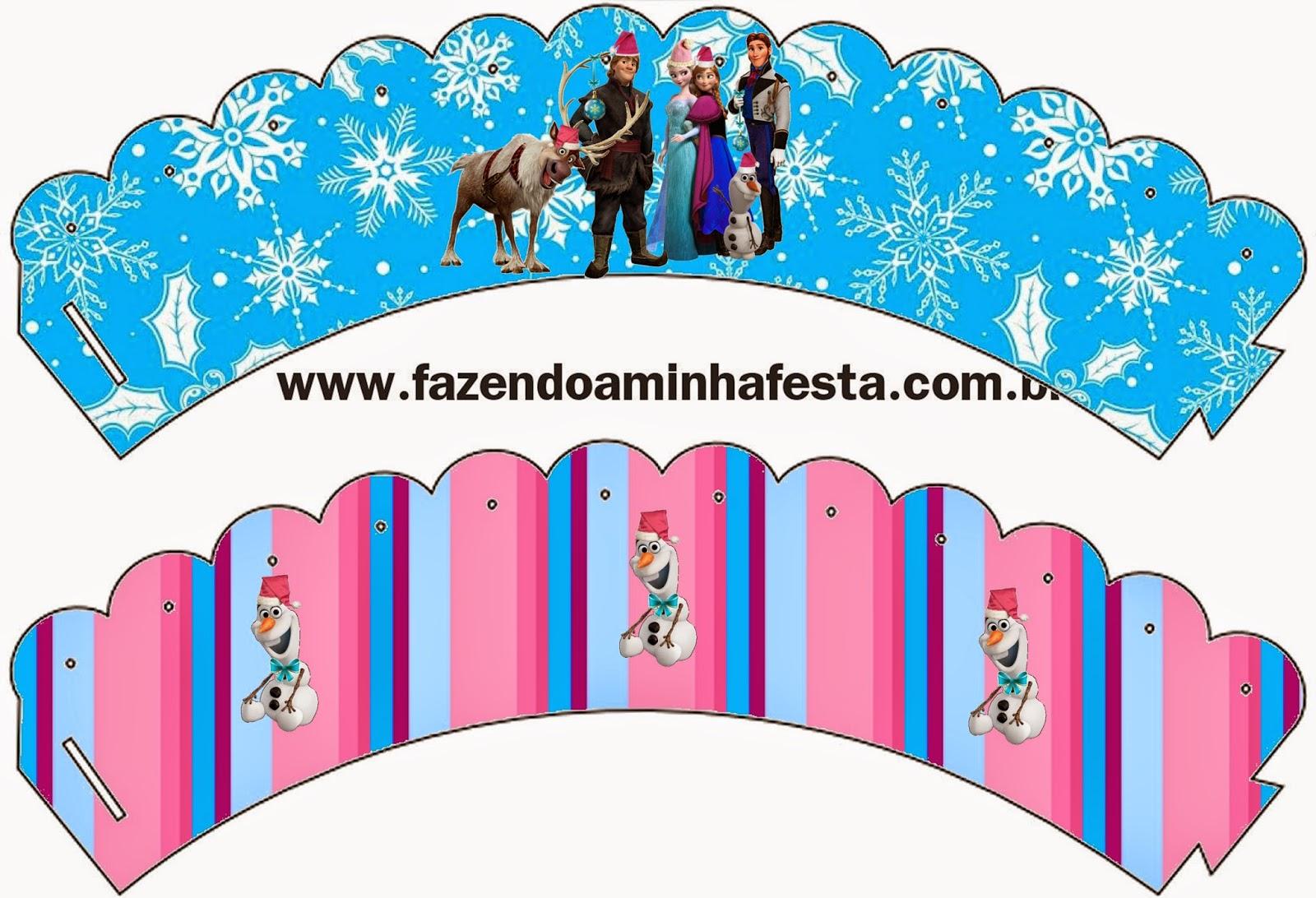 Wrappers para cupcakes de Frozen para Navidad.