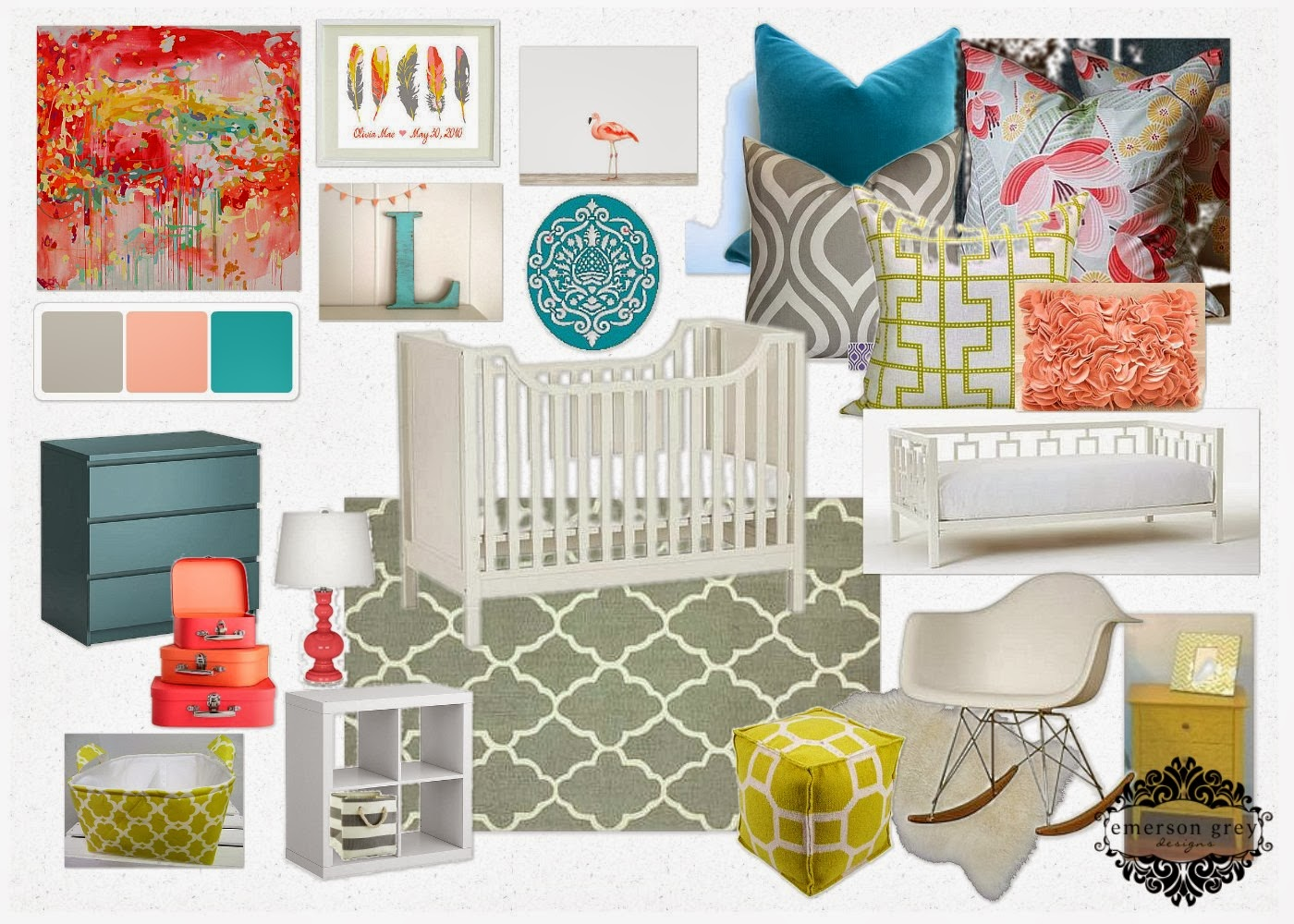 Moroccan Dream Coral And Teal Nursery