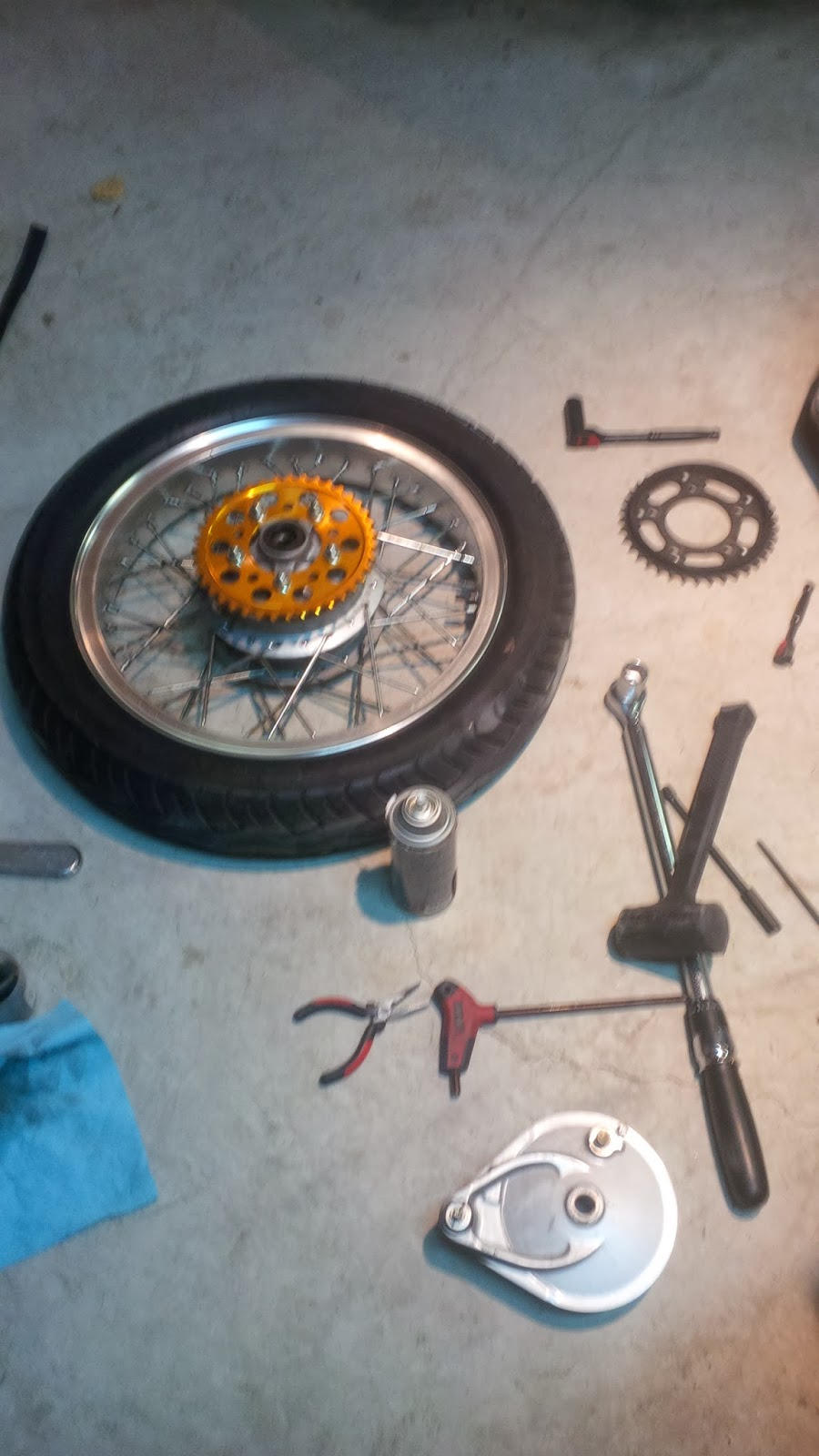 small resolution of new sprocket installed the original had a built in guard the new one will look a little more sporty