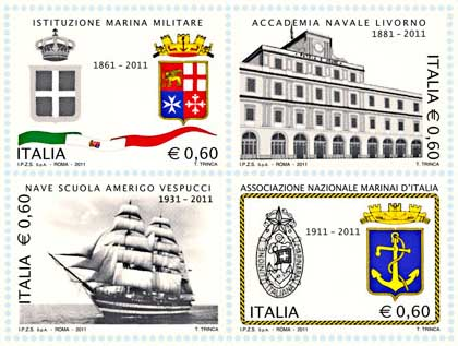Stamps, 150th anniversary of the Italian Navy