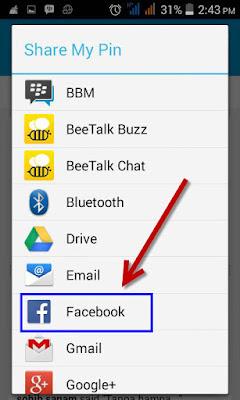 cara membagikan PIN BBM ke sosial media facebook