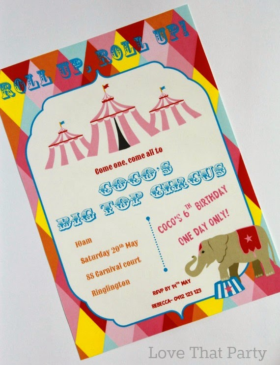 Circus carnival Party Invitation in Pink by Love That Party. http://lovethatparty.bigcartel.com/category/circus