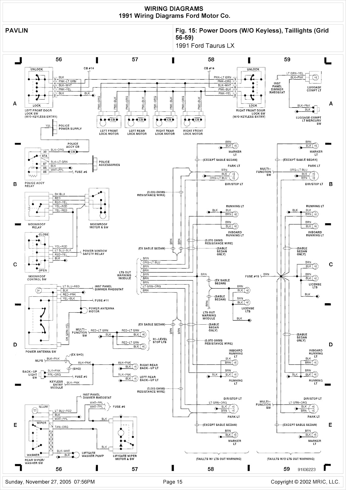 1991 Ford Taurus LX System Wiring Diagram Power Doors