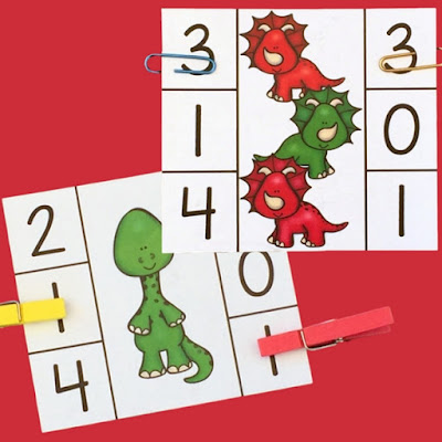 Practice numbers 1-12 with these free dinosaur clip cards!